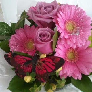 Butterfly pink posy flower bouquet
